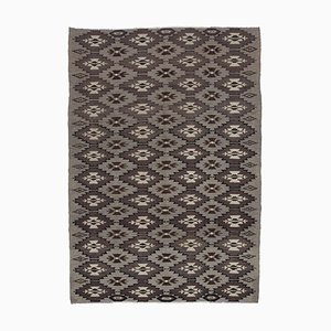 Brown Vintage Hand Knotted Wool Rose Kilim Carpet