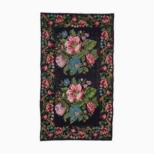 Black Floral Handmade Tribal Vintage Kilim Carpet