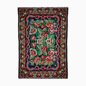 Black Tapestry Hand Knotted Wool Vintage Kilim Carpet