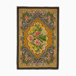 Yellow Vintage Hand Knotted Wool Rose Kilim Carpet