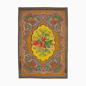 Yellow Tapestry Hand Knotted Wool Vintage Kilim Carpet