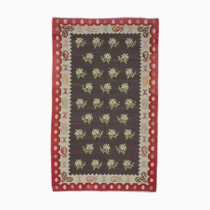 Red Romanian Handwoven Tribal Vintage Kilim Carpet