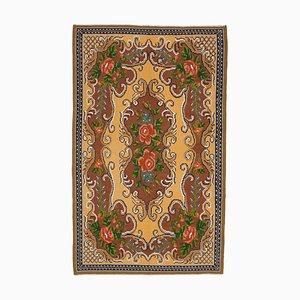 Brown Romanian Handwoven Tribal Vintage Kilim Carpet