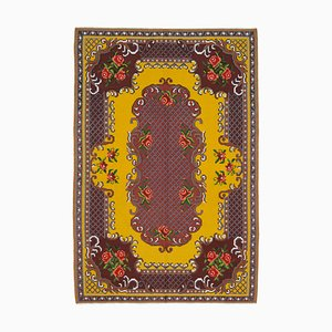 Red Bessarabian Handmade Tribal Vintage Kilim Carpet