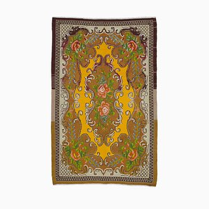Brown Moldovian Handmade Tribal Vintage Kilim Carpet