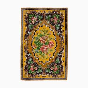 Yellow Floral Handmade Tribal Vintage Kilim Carpet