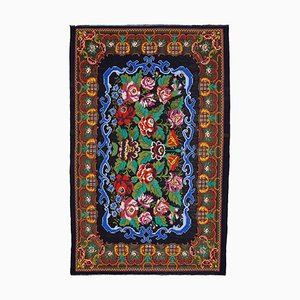 Black Vintage Hand Knotted Wool Rose Kilim Carpet