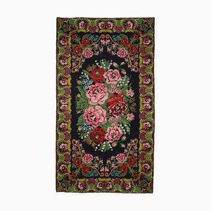 Black Moldovian Handmade Vintage Runner Kilim Carpet