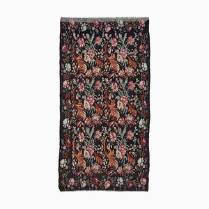 Black Oriental Hand Knotted Vintage Runner Kilim Carpet