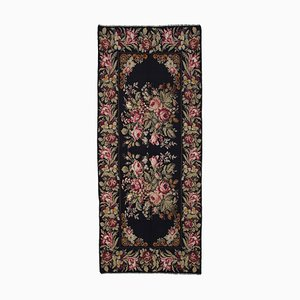 Black Romanian Handwoven Vintage Runner Kilim Carpet