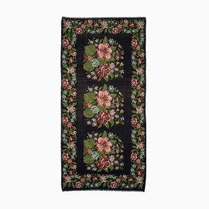 Black Bessarabian Handmade Vintage Runner Kilim Carpet