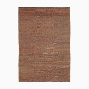 Türkischer Brauner Handgewebter Antiker Flatwave Kilim Teppich