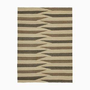 Turkish Beige Hand Knotted Wool Flatwave Kilim Carpet