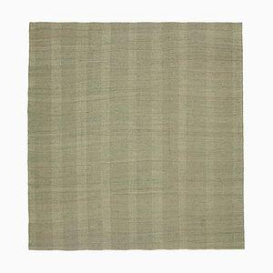 Turkish Green Hand Knotted Wool Flatwave Kilim Carpet