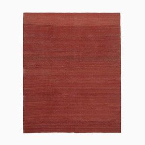 Turkish Red Handmade Wool Flatwave Kilim Carpet