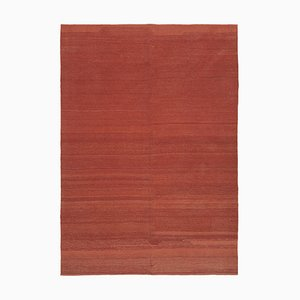 Turkish Red Hand Knotted Wool Flatwave Kilim Carpet