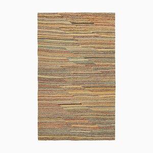 Turkish Yellow Handmade Wool Flatwave Kilim Carpet
