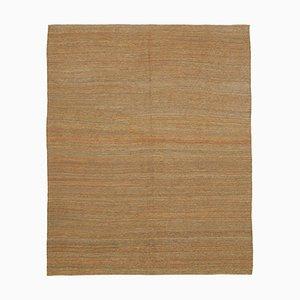 Turkish Orange Handmade Wool Flatwave Kilim Carpet