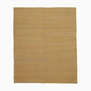Turkish Yellow Hand Knotted Wool Flatwave Kilim Carpet