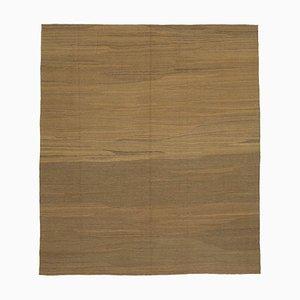Anatolian Brown Handwoven Antique Flatwave Kilim Carpet