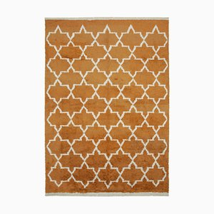 Orange Moroccan Hand Knotted Wool Decorative Carpet