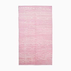 Pink Moroccan Hand Knotted Wool Decorative Carpet