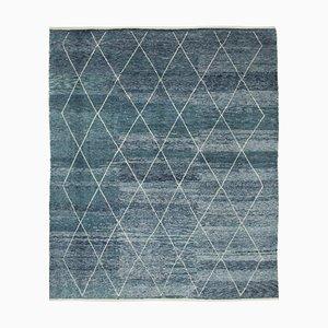 Blue Moroccan Handwoven Long Pile Tribal Carpet