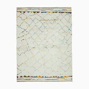 White Moroccan Handmade Wool Geometric Carpet