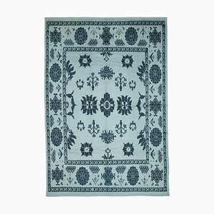 Blue Moroccan Hand Knotted Wool Decorative Carpet