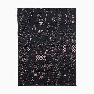 Black Moroccan Handmade Wool Geometric Carpet