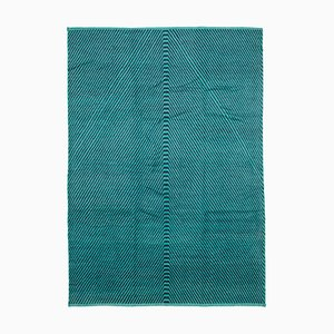 Turquoise Moroccan Handmade Wool Geometric Carpet