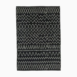 Black Moroccan Handmade Wool Geometric Carpet