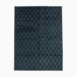 Black Moroccan Hand Knotted Wool Decorative Carpet