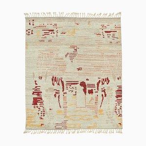 Beige Moroccan Handwoven Long Pile Tribal Carpet