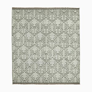 Grey Moroccan Hand Knotted Wool Decorative Carpet