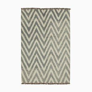 Grey Moroccan Handmade Wool Geometric Carpet
