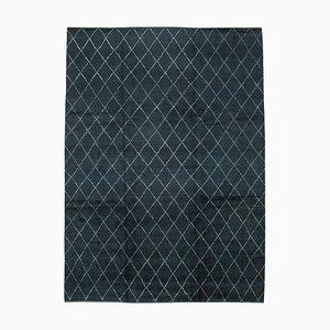 Blue Moroccan Handmade Wool Geometric Carpet