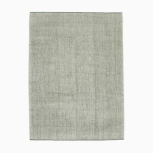 Beige Moroccan Handmade Wool Geometric Carpet