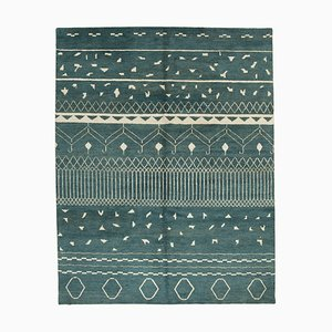 Blue Moroccan Handwoven Long Pile Tribal Carpet