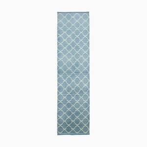 Blue Moroccan Handmade Wool Geometric Runner Carpet