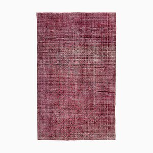 Red Oriental Low Pile Handwoven Overd-yed Carpet