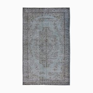 Blue Oriental Low Pile Handwoven Overd-yed Carpet