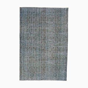 Blue Turkish Decorative Handmade Overdyed Carpet