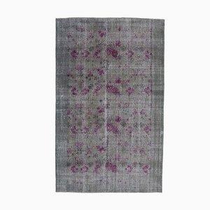 Grey Oriental Traditional Handwoven Overd-yed Carpet