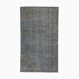 Blue Turkish Wool Handmade Overdyed Carpet