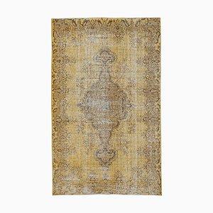 Yellow Turkish Decorative Handmade Overdyed Carpet