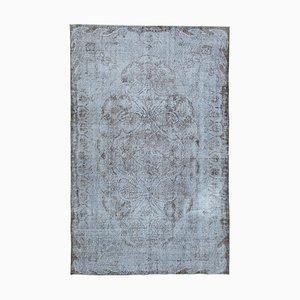 Grey Oriental Low Pile Handwoven Overd-yed Carpet