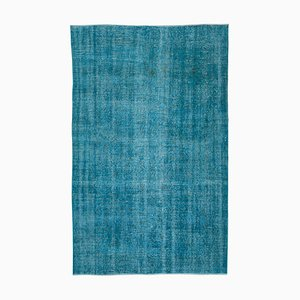 Turquoise Oriental Low Pile Handwoven Overd-yed Carpet