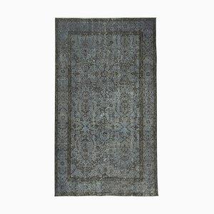 Grauer orientalischer handgewebter niedriger Überfärberter Teppich