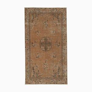Vintage Turkish Green Wool Handmade Carpet